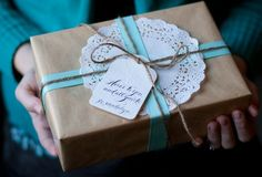 Turquoise paper wrapping
