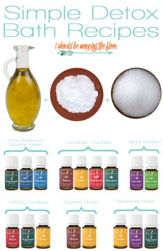 Simple Detox Bath Recipes   Chase illness, emotion, and stress away with these combinations of oils and salts for fabulous baths.