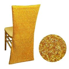 Metallic Glittering Shiny Gold Spandex Stretch Chair Slipcover