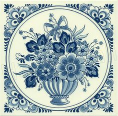 Flower with Bow, Dutch Delft Tile 6' with hook for hanging.
