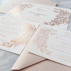 Jaw-dropping gorgeous rose gold foil custom invitations by Coqui including custom illustration. #weddingwednesday