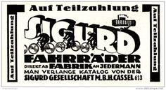 Original-Werbung/ Anzeige 1928 - FAHRRÄDER / SIGURD-GESELLSCHAFT CASSEL - ca. 90 x 45 mm