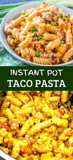 Creamy, meaty and hearty this Instsnt Pot Taco Pasta is full of corn, tomatoes, beef, green chiles and cheese. Making this recipe a quick and easy weeknight favorite. - The ingredients and how to make it please visit the website Light Pasta Recipes, Cheesy Pasta Recipes, Easy Healthy Pasta Recipes, Best Pasta Recipes, Pasta Dinner Recipes, Pasta Dinners, Pasta Salad Recipes, Noodle Recipes, Sausage Recipes
