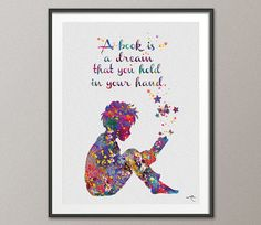 Reader Boy Watercolor Print Book Lover Gift Wall Art Teen Room