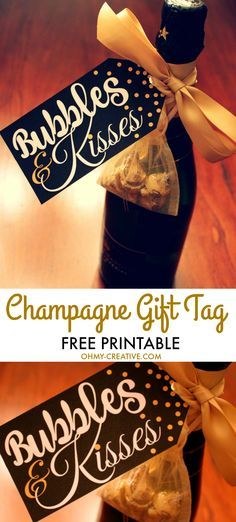 From New Year's Eve, Weddings or any celebration, grab this Bubbles and Kisses Champagne and Chocolate FREE Printable Gift Tag to add to your champagne bottle! | http://OHMY-CREATIVE.COM