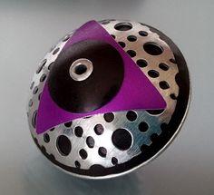 Violet Triangle UFO Metal Focal Bead Bead Jewelry, Jewlery, Riveting, Handmade Beads, Metal Beads, Bead Art, Ufo, Metal Working, Polymer Clay