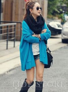 Latest Pure Color Long Sleeves Two Big Pockets Japanese Korean Style Cardigan