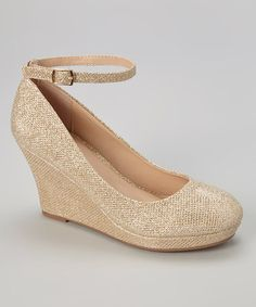 Look what I found on #zulily! Gold Glitter Soft Ankle-Strap Wedge by Gemini #zulilyfinds