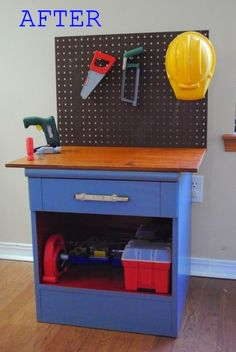 This cool tool bench used to be a thrift store nightstand. Upcycling furniture into kids toys.our small black 3 drawer dresser would be perfect for this!Upcycling furniture into kids toys.our small black 3 drawer dresser would be perfect for this! Christmas Gifts For Boys, Handmade Christmas Gifts, Diy Christmas, Homemade Christmas, Christmas Night, Christmas Birthday, Holiday Gifts, Cool Diy, Easy Diy