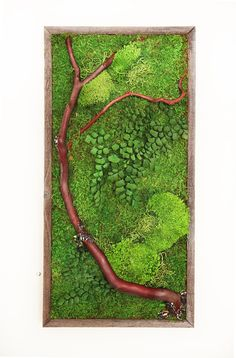 12 x 36 Moss Art. Plant Painting No Care Green Wall by ArtisanMoss