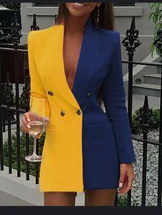 Colorblock Patchwork Blazer Dress Women Doubled Breasted Office Dress Elegant Notched Collar Short Blazer Dresses Workwear, Blue / S Trend Fashion, Suit Fashion, Look Fashion, Womens Fashion, Blazer Fashion, Fashion Today, Cheap Fashion, 70s Fashion, Korean Fashion