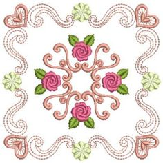 Wind Bell Embroidery Embroidery Design: Elegant Quilt Block 3.85 inches H x 3.85 inches W