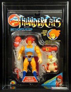 "The classic Lion-O and Snarf action figures, from the ""Thundercats"" line of toys by LJN"