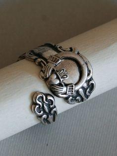 Antique Spoon Ring, Celtic Ring, Silver Spoon Ring,Claddagh Ring,Antique Ring,Silver Ring,Wrapped,Adjustable,Bridesmaid.. $22.99, via Etsy.