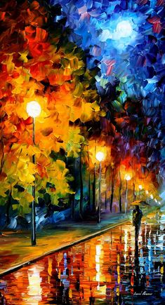 Blue Moon — PALETTE KNIFE Contemporary Modern Landscape of Night Rainy Park Oil Painting On Canvas By AfremovArtStudio on Etsy, $149.00;