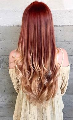 Copper Red to Blonde Ombre Hair