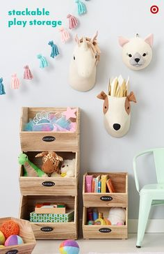 s bedroom or playroom modern, cute and easy to organize.s wooden crates are designed to stack, and write-on chalkboard labels show little ones exactly where their costumes, books and toys should end up after Storage Design, Toy Storage, Storage Ideas, Playroom Storage, Basement Storage, Kids Storage, Bedroom Storage, Toy Rooms, Kids Rooms