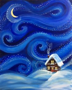 DIY Abstract Heart Painting and a Fun Paint Party Winter night Paint And Sip, Paint The Night, Kids Paint Night, Winter Karten, Heart Painting, Painting Canvas, Christmas Paintings On Canvas, Winter Painting, Easy Paintings