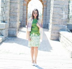 Green Dress, Cropped Jacket, White Pumps, Straight Hair, Circle Sunglasses, Pink Lips, Red Lips, Chic, Mixed Patterns, OOTD