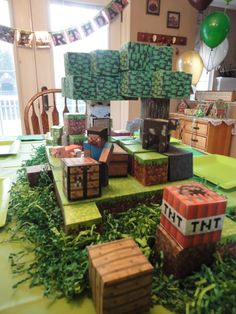 Minecraft centerpiece for my son's birthday party.