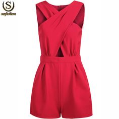 Roupas Femininas 2015 Summer Women Clothing Elegant Clothes Ladies Fashion Red Sleeveless Cross Hollow Female Fitness Jumpsuit-in Jumpsuits & Rompers from Apparel & Accessories on Aliexpress.com | Alibaba Group