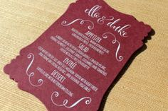 Tickled Pink Menu Card with White Ink designed by Darcy Sang