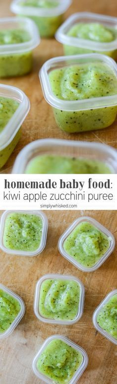 Kiwi Apple Zucchini Puree | Homemade Baby Food | http://simplywhisked.com