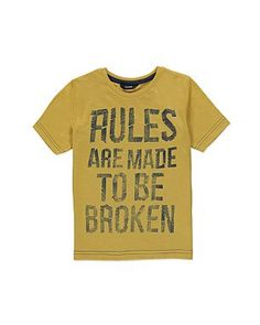 'Rules Are Made To Be Broken' T-shirt | Boys | George at ASDA