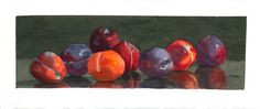 """""""PLUMS"""" by Celia Diaz   Watercolors   13"""" x 4.25"""" framed and ready to hang   $500 #artforsale #artgallery21"""