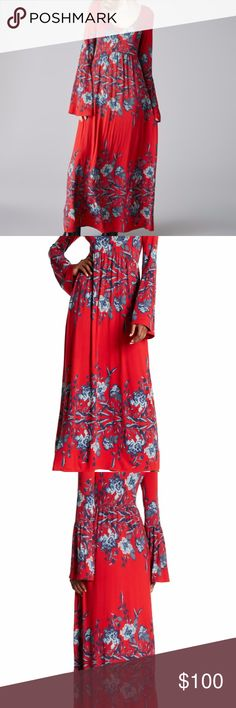 """Free people womens Midnight red combo dress Small etails An intricate floral print in shades of crimson and burgundy swirl across a bohemian maxi dress cinched at the waist and framed with voluminous bell sleeves. - Slips on over head - Scoop neck - Bell sleeves - Lined - Approx. 59"""" length (size S) - Imported Fiber Content 94% rayon, 6% spandex Care Machine wash cold, dry flat Additional Info Fit: this style fits true to size.  Model's stats for sizing: - Height: 5'8.5"""" - Bust: 34"""" - Waist…"""