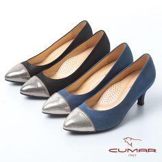 2980未來前沿 異材質拼接尖頭高跟鞋-藍色 - 黑5/5.5 Kitten Heels, Shoes, Fashion, Moda, Zapatos, Shoes Outlet, Fashion Styles, Shoe, Footwear