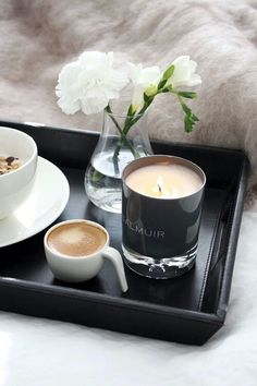 autumn, bed, breakfast, candle, coffee, flowers, morning, saturday