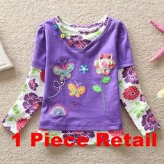 Retail Girl t shirt White Purple Flower Long Sleeve Girls t-shirts Summer Shirts T-shirts for Children Flags Brand G619 Mix