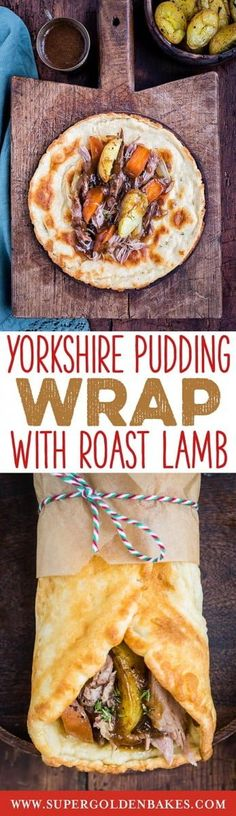 Take your Sunday roast to the next level with a Yorkshire pudding wrap! Delicious roast lamb, crispy potatoes, vegetables and gravy wrapped in a Yorky pud is the ultimate in comfort food Veal Recipes, Lamb Recipes, Yorkshire Pudding Wrap, Great British Food, Sunday Roast, Roast Dinner, Yorky, Pub Food, International Recipes