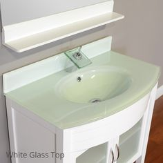 ALYA BATH ELITE COLLECTION AW-082-36-W SINGLE MODERN BATHROOM VANITY WITH GLASS TOP
