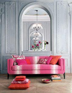 Manuel Canovas - Isis sofa covered with Kazan rose indien and beautiful Parisian grey interior