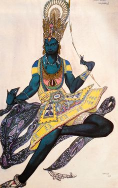 Leon Bakst. Costume of the Blue God (for V. Nijinsky). Sketch. Л.С.Бакст. Эскиз костюма Синего бога для В.Ф.Нижинского.