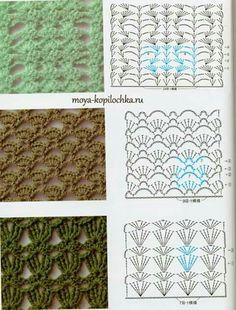 Collection of patterns and motifs crocheted Crotchet Stitches, Different Crochet Stitches, Crochet Motifs, Crochet Stitches Patterns, Crochet Diagram, Crochet Chart, Knitting Stitches, Stitch Patterns, Knitting Patterns