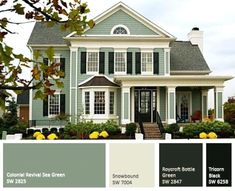 Sage Green House Best Green Exterior House Paint With Exterior House Painting Trends Color World White House With Sage Green Shutters Green Exterior Paints, Best Exterior Paint, Exterior Paint Colors For House, Exterior Siding, Paint Colors For Home, Exterior Design, Diy Exterior, Paint Colours, Exterior Windows