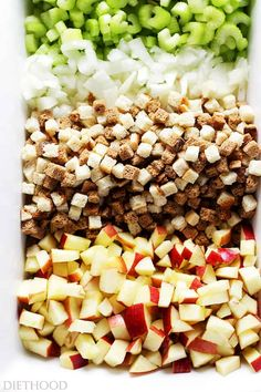 Easy Apple Stuffing Recipe - Very delicious, easy to make turkey stuffing with apples, bread cubes and herbs. Easy Apple Stuffing Recipe - Very delicious, easy to make turkey stuffing with apples, bread cubes and herbs. Easy Apple Stuffing Recipe, Homemade Turkey Stuffing, Crockpot Stuffing, Vegetarian Stuffing, Stuffing Recipes For Thanksgiving, Thanksgiving Side Dishes, Thanksgiving Ideas, Apple Cranberry Stuffing, Stuffing For Turkey