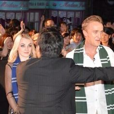 ❤ @TomFelton looking awesome in Slytherin scarf at the opening of WWOHP Japan!