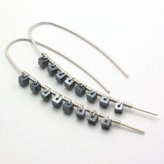 "Hematite Sterling ""Stix"" Earrings: modern rocker celebrity Fashion metallic black and white edgy  statement jewelry $85"