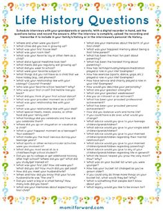 Life History Questions Printable List of family interview questions for your family history.