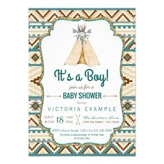 Boys Tribal Teepee Aztec Baby Shower Card - Boys tribal baby shower invitations with teepee and arrows on a turquoise teal blue and brown Aztec tribal background. You... #custom #print on demand art themed #gift #invitation design by #The_Baby_Boutique - #invitation #tribalbabyshower #tribalbabyshowerinvitations #boystribalinvitations #boystribalbabyshower #boystribalbabyshowerinvitations #teepeebabyshowerinvitations #boysteepeebabyshowerinvitations #teepeeinvitations…
