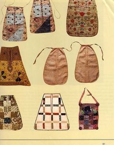 from Time Life American Country series entitled The Needle Arts. 18th Century Clothing, 18th Century Fashion, Sewing Pockets, Vintage Outfits, Vintage Fashion, Antique Quilts, Historical Costume, Textiles, Dressmaking
