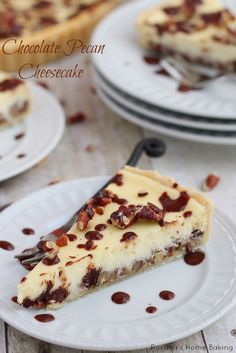 Silky cheesecake featuring two layers of chopped pecans and chocolate chips