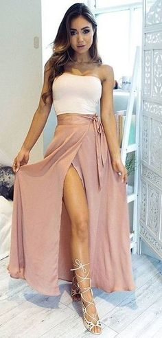 Two Pieces Strapless Dress,Split Prom Dress,A Line Prom
