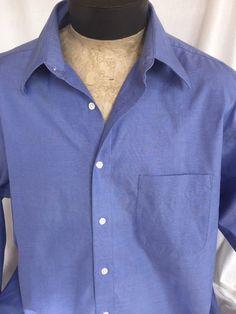 Enro Non-iron Dress Shirt Size 17 x 37/38 100% Cotton Blue Pin Stripe #Enro