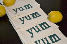 YUM ...Cloth Napkins Screen Printed on Linen Colored Napkin with the word YUM in Forest Green Paint on Etsy, $24.00