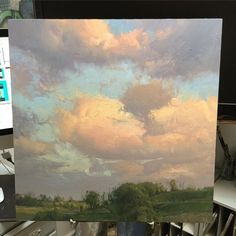 Landscape Paintings and photographs : This painting is so Landscape Art, Landscape Paintings, Cloud Art, Sky Painting, Sky Art, Paintings I Love, Art Techniques, Art Oil, Oeuvre D'art